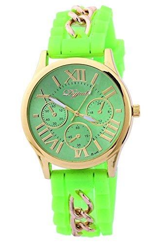 SODIAL R Golden Gehaeuse Silikon Legierung Armband Armbanduhr hellgruen