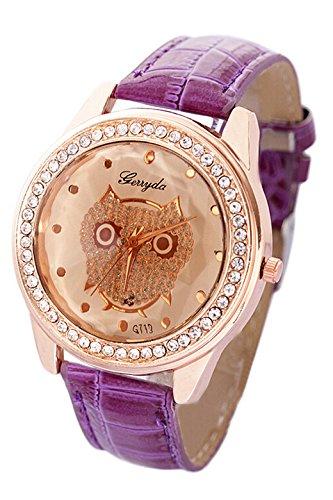 SODIAL R Dame Getoentes Glas Eule Guertel Uhr Kristall Verzierte mit lila Band