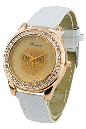SODIAL R Dame Getoentes Glas Eule Guertel Uhr Kristall Verzierte mit weisser Band