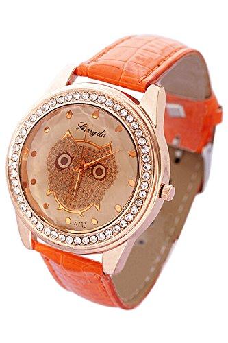 SODIAL R Dame Getoentes Glas Eule Guertel Uhr Kristall Verzierte mit oranger Band