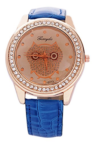 SODIAL R Dame Getoentes Glas Eule Guertel Uhr Kristall Verzierte mit blauer Band