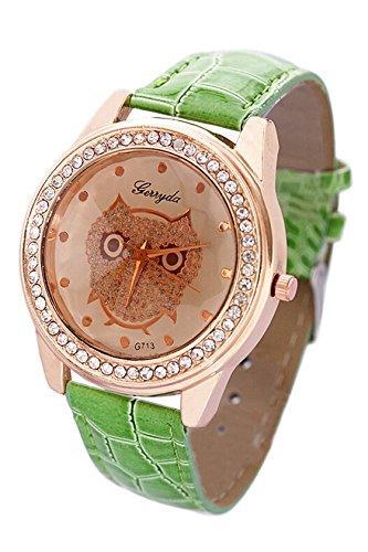 SODIAL R Dame Getoentes Glas Eule Guertel Uhr Kristall Verzierte mit gruener Band