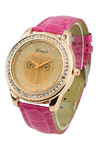 SODIAL R Dame Getoentes Glas Eule Guertel Uhr Kristall Verzierte mit rosa Band