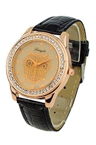 SODIAL R Dame Getoentes Glas Eule Guertel Uhr Kristall Verzierte mit schwarzer Band