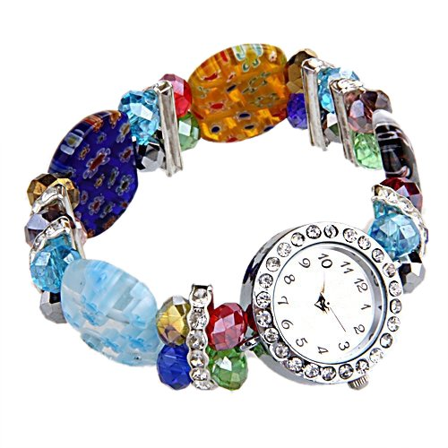 SODIAL R Glaskristallarmband mit rundem Zifferblatt Armbanduhr