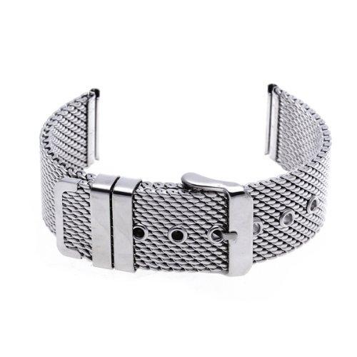 SODIAL R 22 mm Unisex Grobnetz Stahluhrenarmband Buegel Armband Dornschliesse Silber