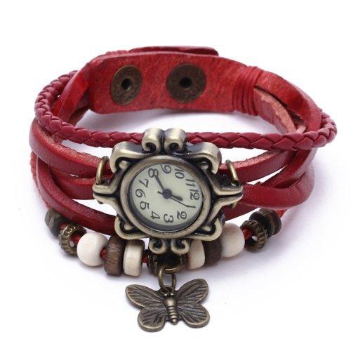 SODIAL R kreisfoermiger Rahmen Schmetterling Leder Armband Dame Armbanduhr gestrickte Uhr Rot