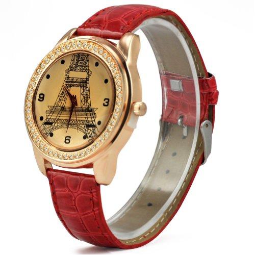 SODIAL R Mode Dame Kristallanzeigetafel Eiffelturm Analog Zifferblatt Farbe Rot Leder Quarzuhr
