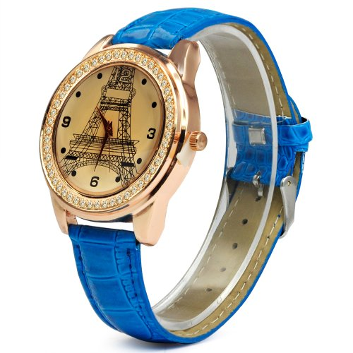 SODIAL R Mode Dame Kristallanzeigetafel Eiffelturm Analog Zifferblatt Farbe Blau Leder Quarzuhr