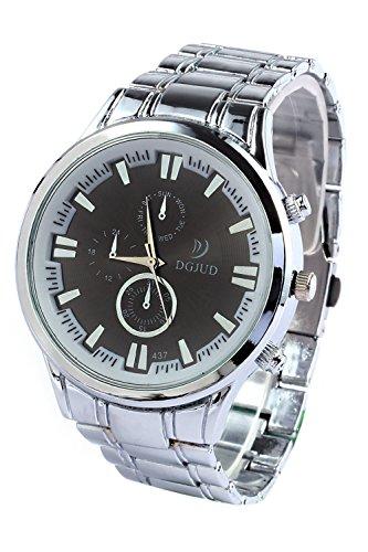 SODIAL R Legierung runde Analoge Silber Armband schwarz Zifferblatt