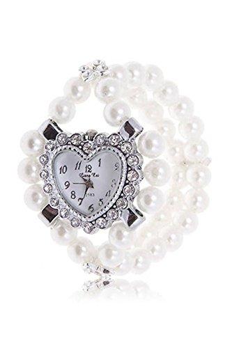 SODIAL R Maedchen Dame Herz Entwurf Strass Perlen Armband Uhr Weiss
