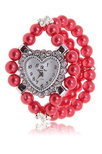 SODIAL R Maedchen Damen herzfoermig Design Strass gemischte Perlen Armband Armbanduhr rot