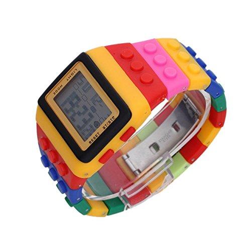 SODIAL R Multifarbe Block Ziegelstein Art Armbanduhr mit LED Nachtlicht Gelb