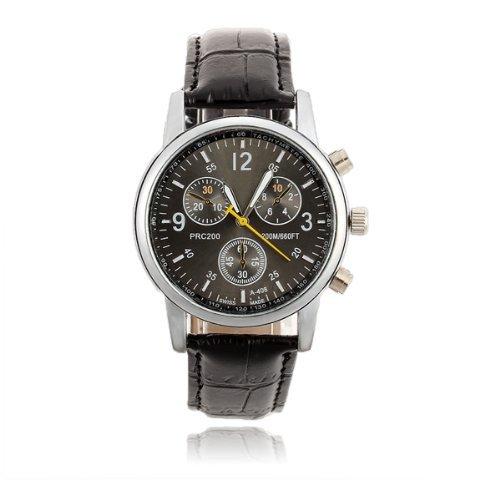 SODIAL R Maenner Quarz Armband Uhr PU Buegel Schwarzes Zifferblatt Roemische Ziffern