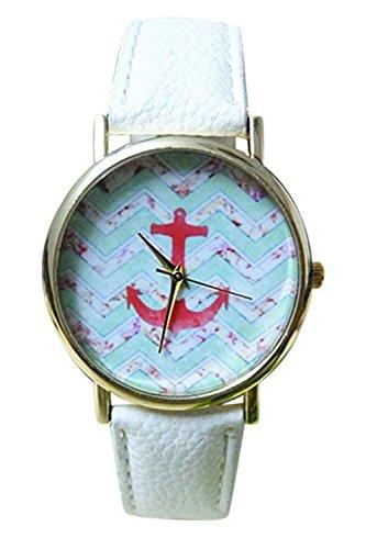 SODIAL R Laessige Anker Muster Kunstleder Armbanduhr weiss