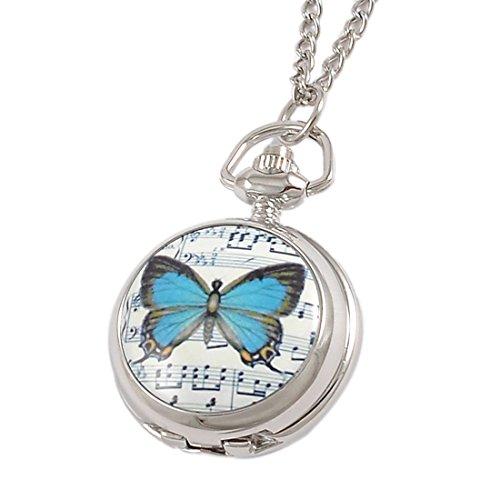 SODIAL R Blaue Schmetterling Druck Hunter Runde Sache Halskette Taschenuhr fuer Damen