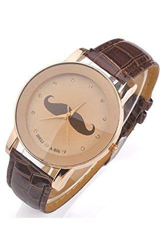 SODIAL R Schnurrbart Muster Frauen Quarz PU Leder Armbanduhr braun