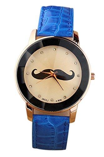 SODIAL R Schnurrbart Muster Frauen Quarz PU Leder Armbanduhr blau