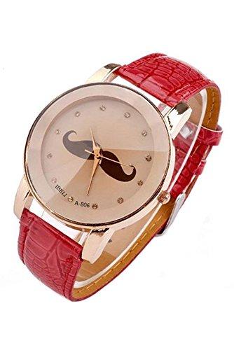SODIAL R Schnurrbart Muster Frauen Quarz PU Leder Armbanduhr rot