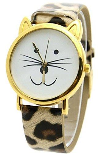 SODIAL R Schoene Katzen Gesicht Form Zifferblatt Legierung Leder Uhr Leopard Golden