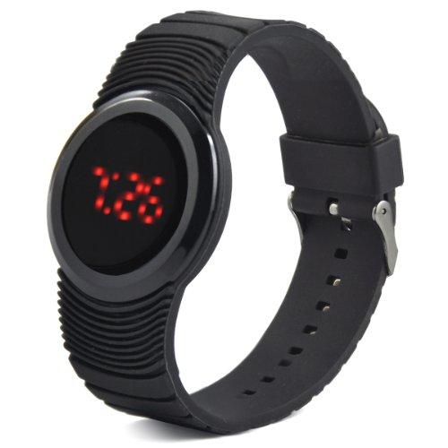 SODIAL R Silikon Genf Kristallstein Quarz Damen Gelee Sport Armbanduhr