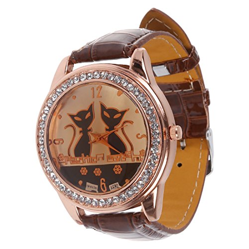 SODIAL R Strass Doppel Katzen Dekoration Armbanduhr Kaffee Farbe