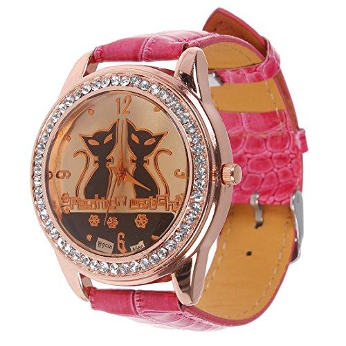 SODIAL R Strass Doppel Katzen Dekoration Armbanduhr Rose Rot
