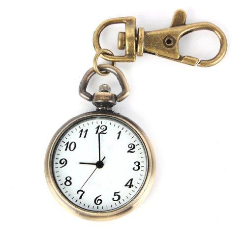 SODIAL R Bronze Farbe Rund Anh nger Quarz Uhr Taschenuhr Schl sselring Damen Kinderuhr Geschenk Watch Xmas Gift