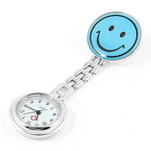 SODIAL R Tragbare Krankenschwester Laecheln Pattern Taschenuhr Blau