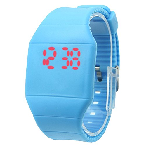 SODIAL R Ultra Thin Unisex Junge Maedchen Screen LED Digital Silikon Sport Armbanduhr Hell blau