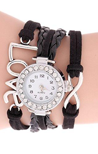 SODIAL R Unendliche Liebe Charm Armband Uhr Schwarz