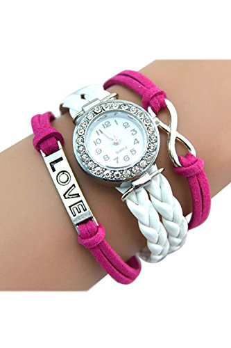 SODIAL R Unendliche Liebe Charm Armband Uhr Rose Rot weiss