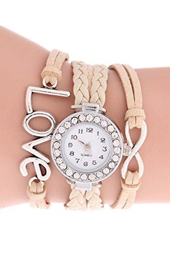 SODIAL R Unendliche Liebe Charm Armband Uhr Beige