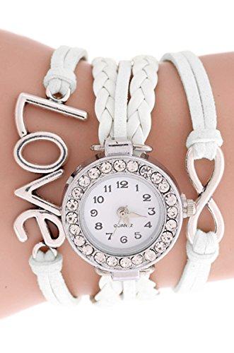 SODIAL R Unendliche Liebe Charm Armband Uhr Weiss