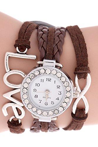 SODIAL R Unendliche Liebe Charm Armband Uhr Braun