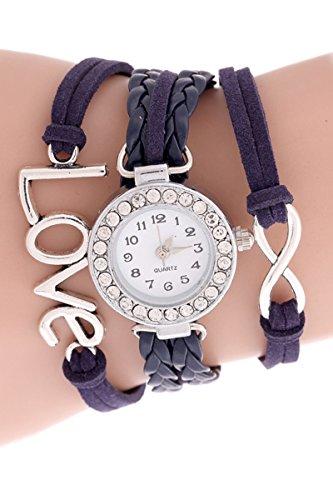 SODIAL R Unendliche Liebe Charm Armband Uhr Lila