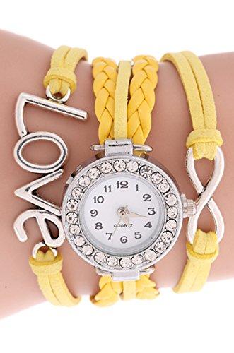 SODIAL R Unendliche Liebe Charm Armband Uhr Gelb