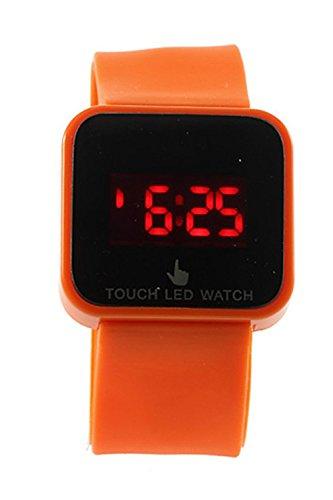 SODIAL R Bunte Unisex LED Digitale Touch Screen Silikon Armbanduhr orange