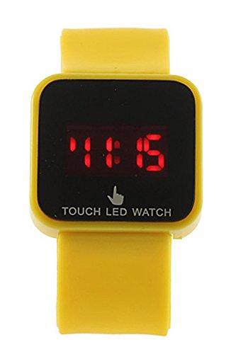 SODIAL R Bunte Unisex LED Digitale Touch Screen Silikon Armbanduhr gelb