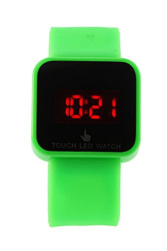 SODIAL R Bunte Unisex LED Digitale Touch Screen Silikon Armbanduhr gruen