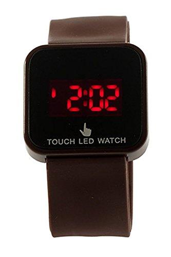 SODIAL R Bunte Unisex LED Digitale Touch Screen Silikon Armbanduhr braun