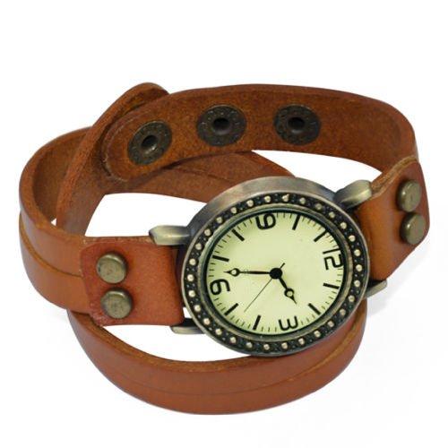 SODIAL R Vintage Charme Dame Frauen Orange Wrap Lederband Quarz Armband Armbanduhr Orange