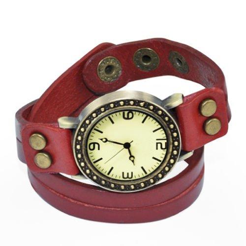 SODIAL R Vintage Retro Dame Frauen um Quarz weben Wickelband Armbanduhr wickeln rot