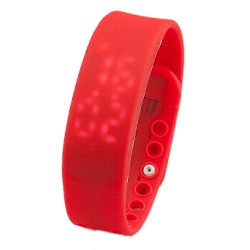 SODIAL R 3D LED Wasserdicht Schrittzaehler Gesundheit Armbanduhr Pedometer Temperatur Sportuhr Fitness Schlaf Aktivitaetsprotokoll Kalorienzaehler Rot