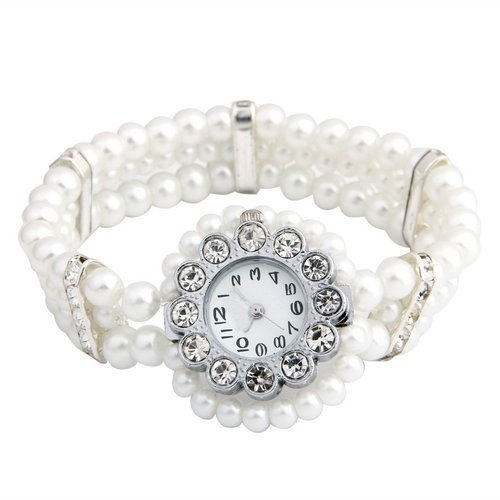 SODIAL R Weisse Perlen Kristall Strass Armband Armbanduhr