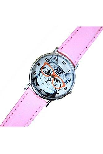SODIAL R Katze mit Brille Zifferblatt Kunstleder Armband Armbanduhr rosa