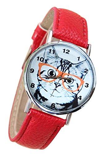 SODIAL R Katze mit Brille Zifferblatt Kunstleder Armband Armbanduhr rot