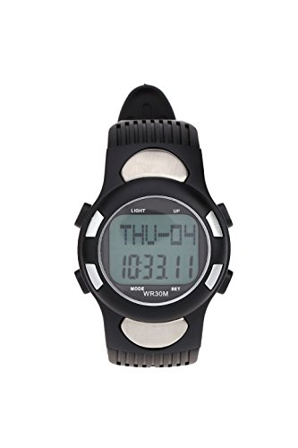 Sport Kalorie Stoppuhr SODIAL R 3ATM Wasserdichte Sport Puls Monitor Fitness uebung Uhr Pedometer Kalorie Stoppuhr Outdoor Radfahren