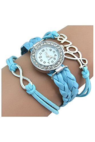Strass Uhr SODIAL R Armbanduhr Strass Uhr mit Unendlichkeit Love Charm azurblau