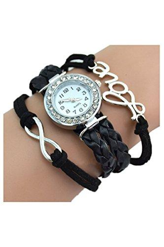 Strass Uhr SODIAL R Armbanduhr Strass Uhr mit Unendlichkeit Love Charm schwarz